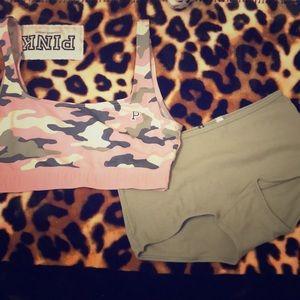 Pink sports bra and panty set.